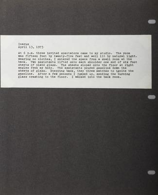 Icarus, extrait de Chris Burden 71-73
