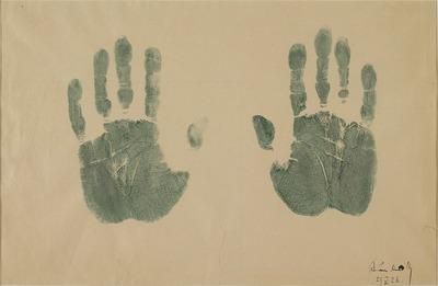 Empreintes des mains de l'artiste